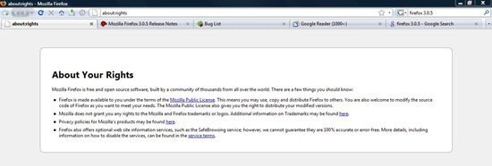 Firefox 3.0.5 About rights