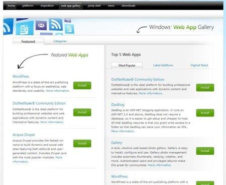 Windows Web App Gallery