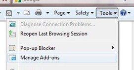 Internet Explorer 8 Tools Manage Addons