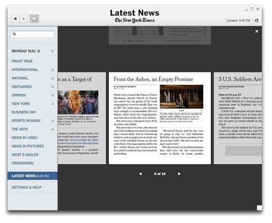 Coverflow in the New York Times Reader