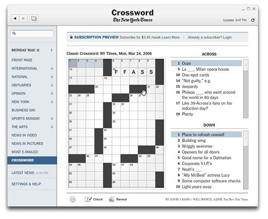 Crossword Puzzles  in the New York Times Reader