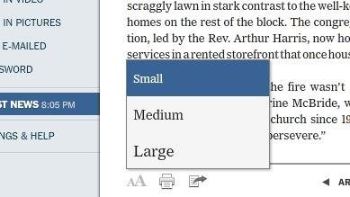 Different Font sizes for the New York Times Reader