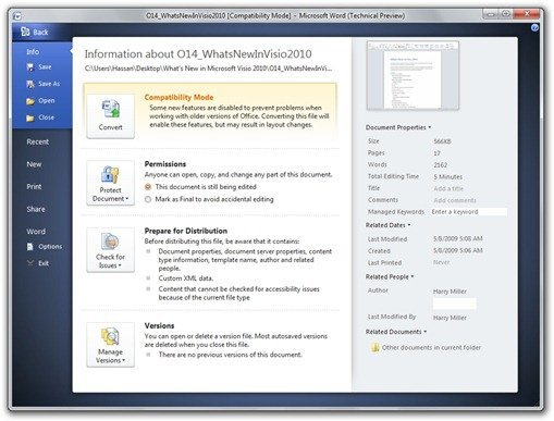 Office 2010 Backstage - Microsoft Word (Technical Preview)