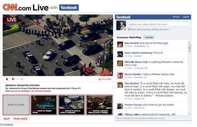 Michael Jackson live stream memorial funeral CNN Facebook