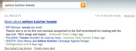 Ashton Kutcher Tweets Bing