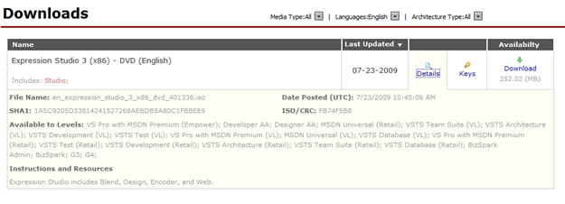 Expression Studio 3 on MSDN