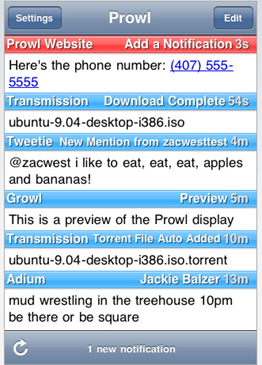 Prowl App for iPhone/ iPod Touch for Push Notifications