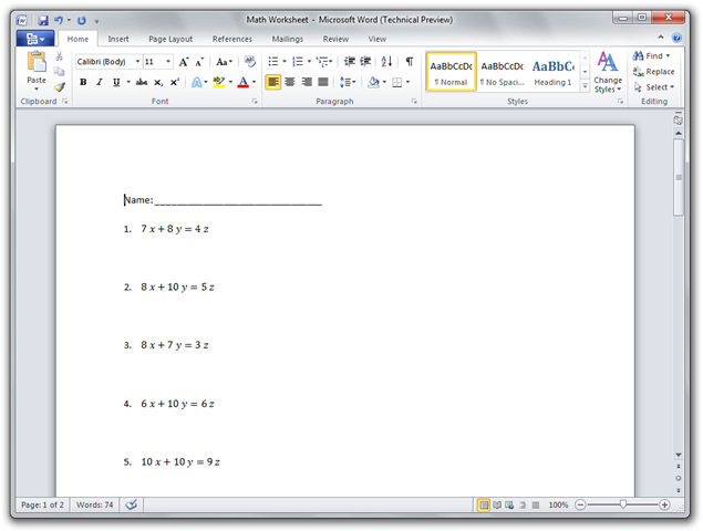 Math Worksheet - Microsoft Word (Technical Preview)