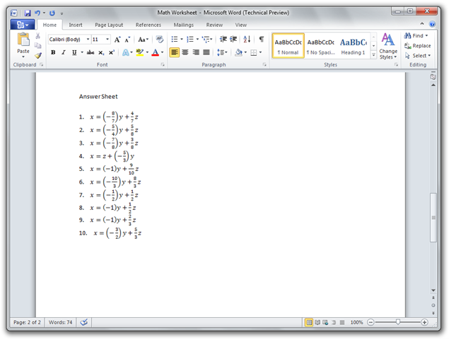 Math Worksheet - Microsoft Word (Technical Preview) (2)