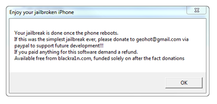 Jailbreak iPod Touch OS 3.1.2 with blackra1n 5