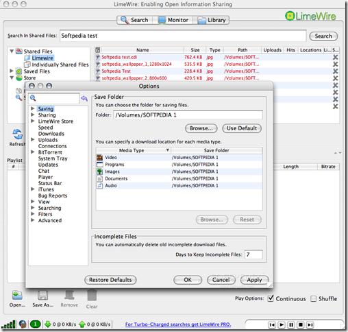 LimeWire5.4.0OptionWindow