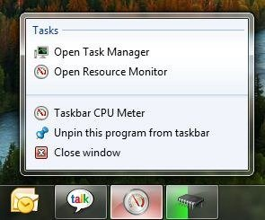 Windows 7 taskbar meters jumplists