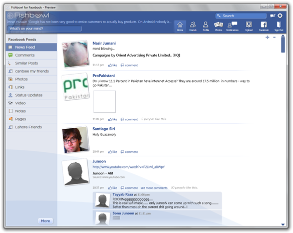 Fishbowl for Facebook - Preview