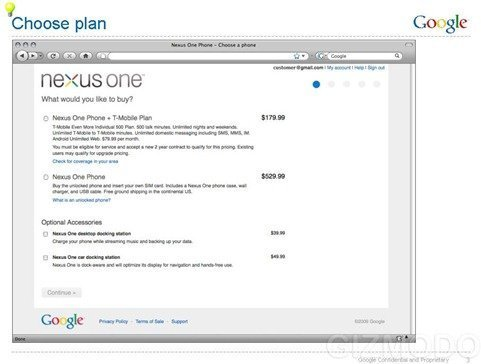 Google nexus one pricing and plans