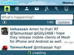 Snapshot of the new twitter client