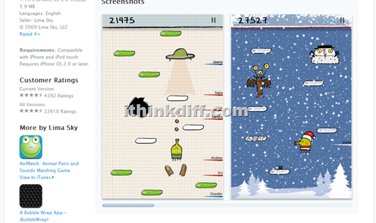 Screenshots on Doodle Jump webpage