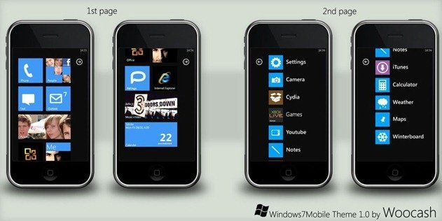 Windows Phone 7 Series theme for the iPhone by Woocash