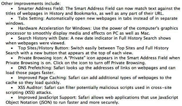 Apple Safari 5 web browser changelog 2.jpg