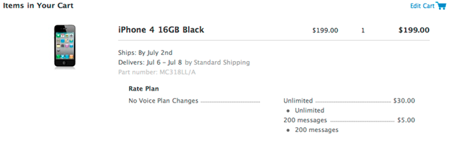 Apple pre orders for iPhone 4G