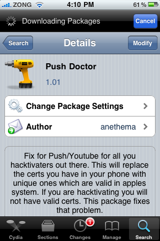 How to Enable Push Notifications on Unlocked/Hacktivated iPhone with iOS 4 using Push Doctor