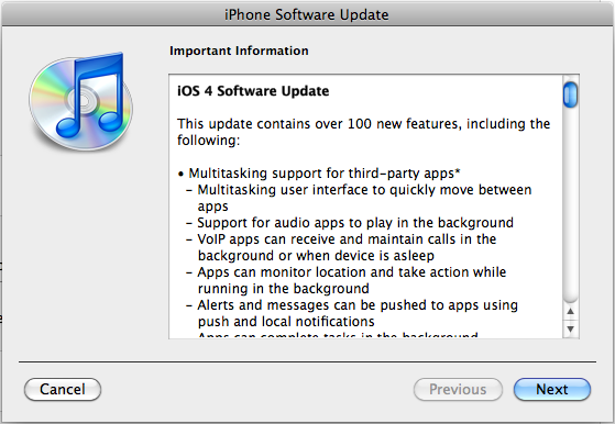 iOS 4.0 update changelog