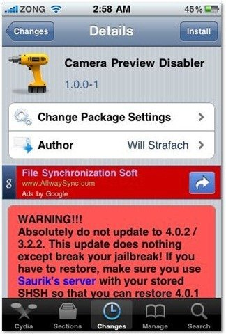 Camera Preview Disabler for iPhone