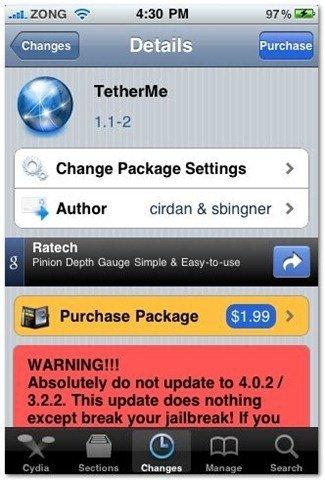 TetherMe for Jailbreak iPhone Cydia App