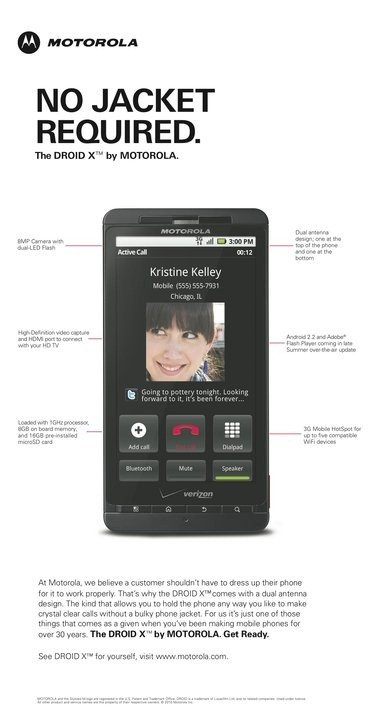 Motorola Droid X Ad No Jacket Required