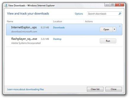 View Downloads - Windows Internet Explorer