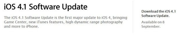 iOS 4.1 update for iPhone and iPod Touch