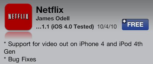 Netflix iPhone App Video Out