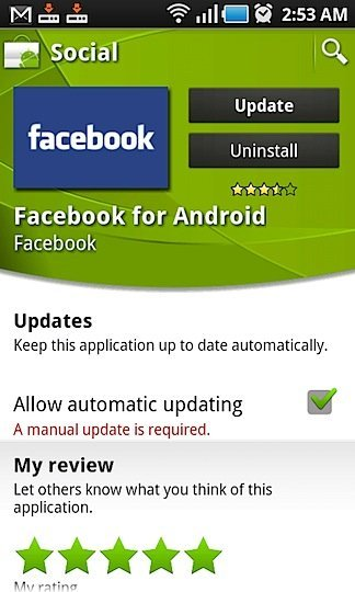 Facebook App 1.5 for Android