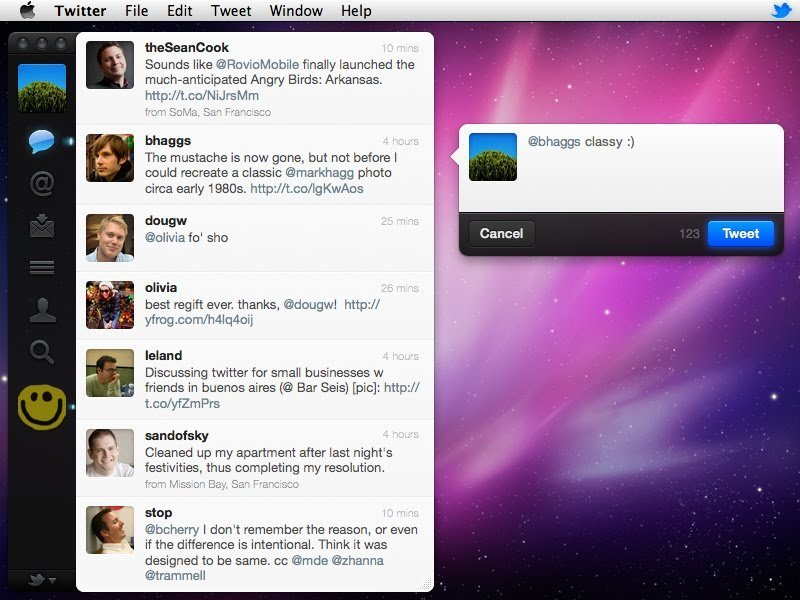 Twitter for Mac conversation