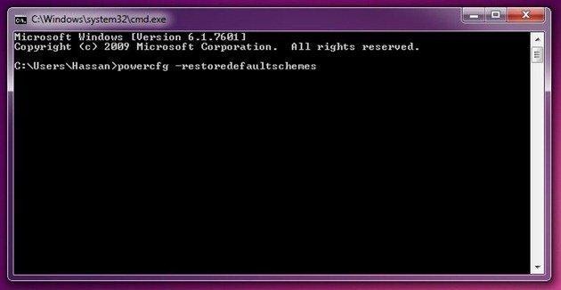 Restore Windows 7 Power Plans