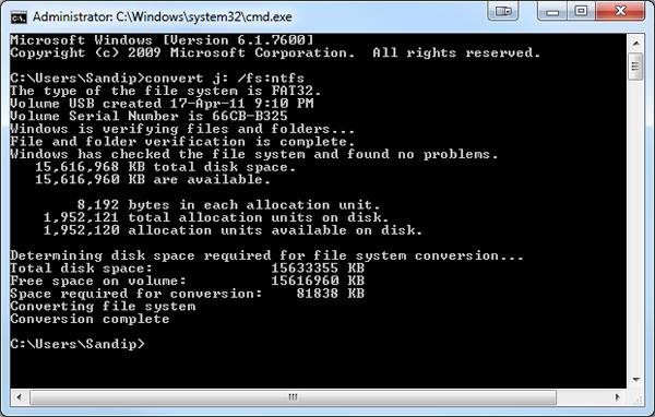 Convert NTFS