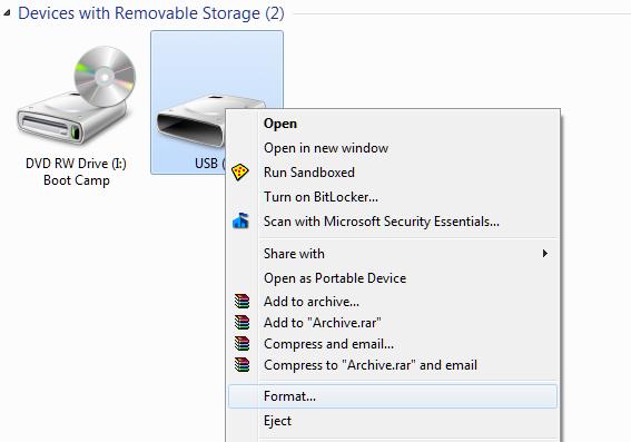 Format USB to NTFS