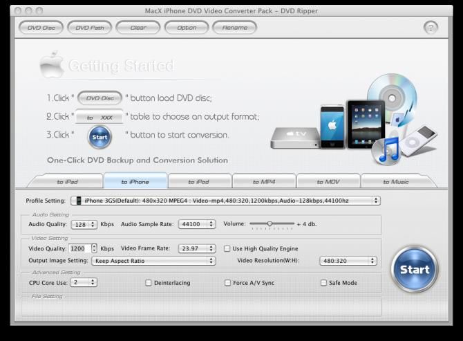 MacX iPhone DVD Video Converter Pack DVD Ripper screenshot