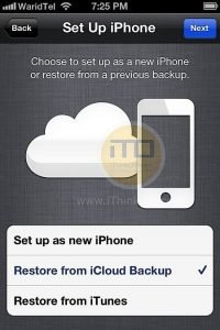 Restore iPhone, iPad or iPod touch using iCloud Backup In iOS 5