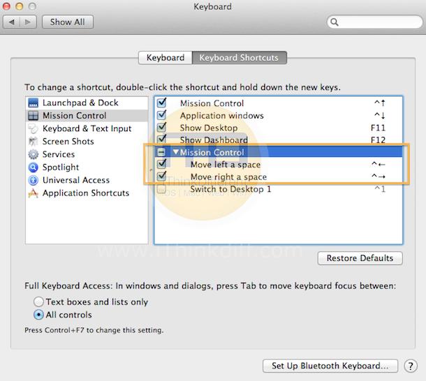 Edit Mission Control Shortcuts iTD