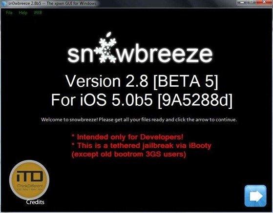 sn0wbreeze 2.8b5 for iOS 5 b5 2wtmk