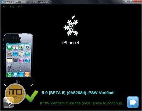 sn0wbreeze 2.8b5 for iOS 5 b5 5wtmk