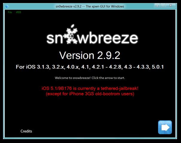 sn0wbreeze v2.9.2 -- The xpwn GUI for Windows