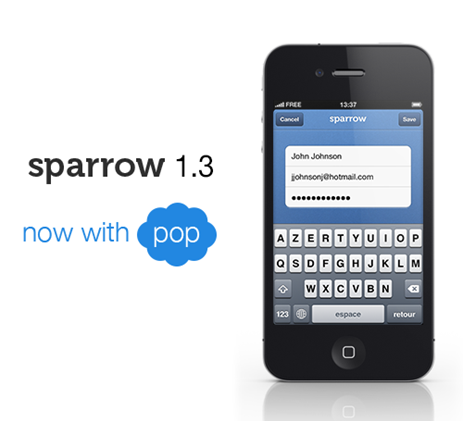 sparrow 1.3 for iPhone with POP account support