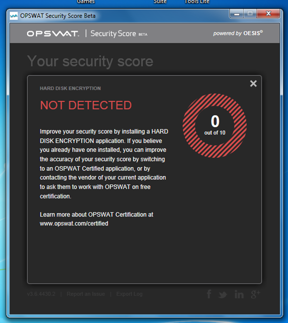 Windows Security Status OPSWAT Score