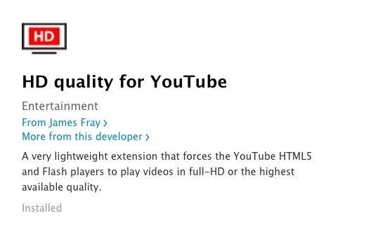 Safari HD Quality for YouTube