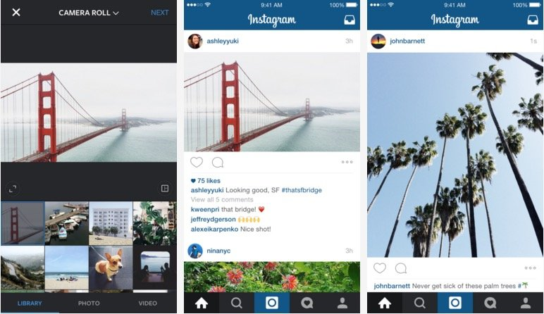 Instagram adds support for landscape and portrait formats