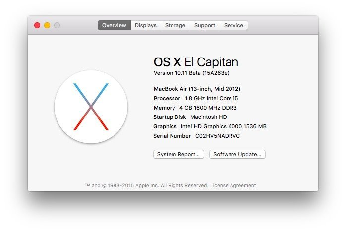 OS X El Capitan About This Mac