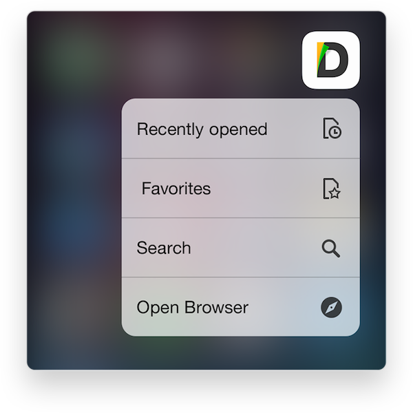 Documents 3D touch Spotligh Search