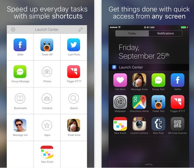 Launch Center Pro for iPhone updated with support for 100k new apps and today widget