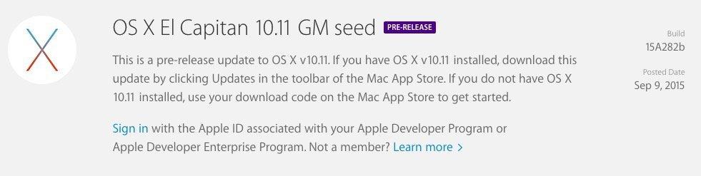 OS X 10.11 El Capitan GM